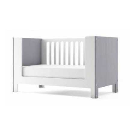 CUPCAKE CRIB CONVERTED INTO DAY BED IN GREY AND WHITE