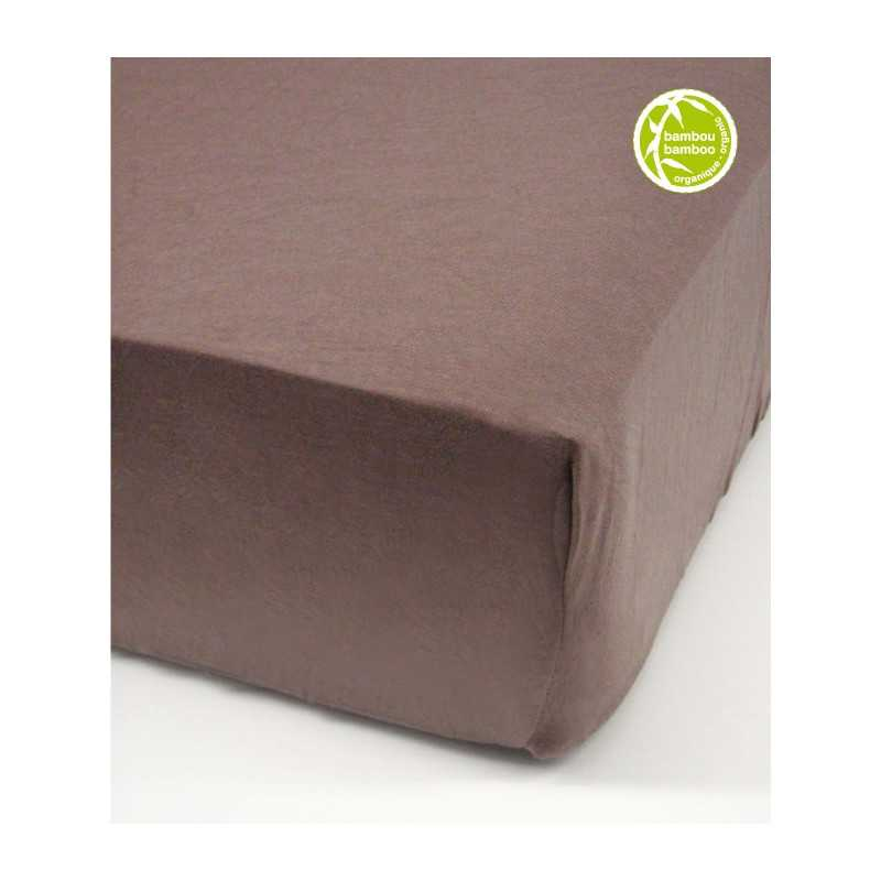 CRIB FITTED SHEET BAMBOU CHOCO